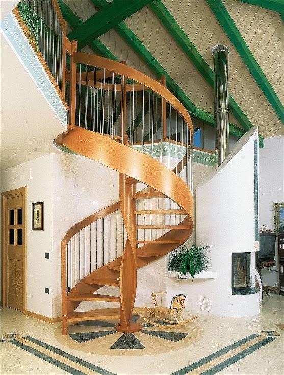 Scale elicoidali legno ferro da interni mod perla lineascale - Ringhiere da interno moderne ...